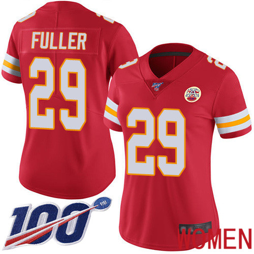 Women Kansas City Chiefs 29 Fuller Kendall Red Team Color Vapor Untouchable Limited Player 100th Season Football Nike NFL Jersey