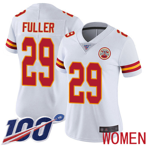 Women Kansas City Chiefs 29 Fuller Kendall White Vapor Untouchable Limited Player 100th Season Football Nike NFL Jersey