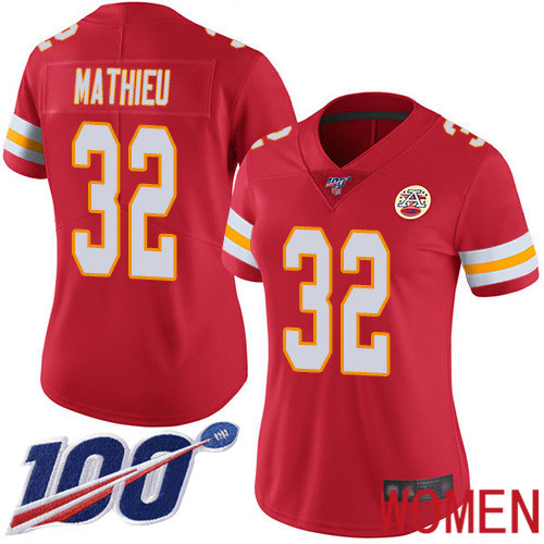 Women Kansas City Chiefs 32 Mathieu Tyrann Red Team Color Vapor Untouchable Limited Player 100th Season Football Nike NFL Jersey