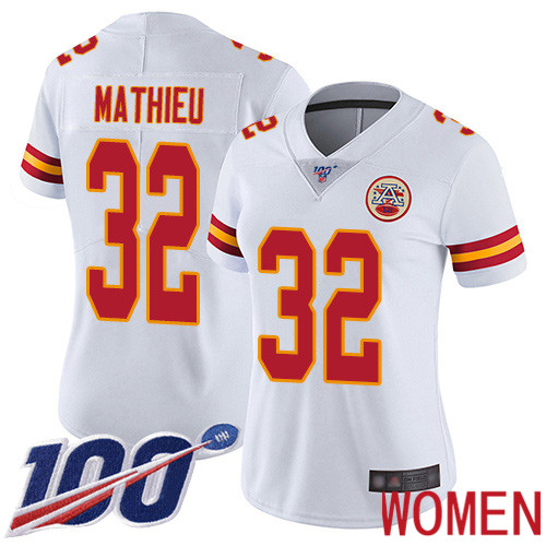 Women Kansas City Chiefs 32 Mathieu Tyrann White Vapor Untouchable Limited Player 100th Season Football Nike NFL Jersey