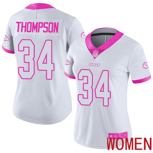 Women Kansas City Chiefs 34 Thompson Darwin Limited White pink Rush Fashion Football Nike NFL Jersey