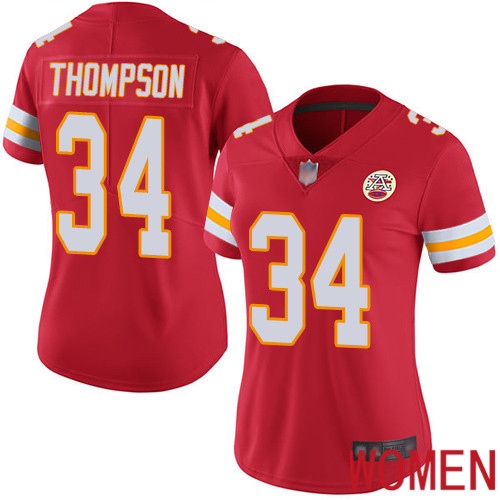 Women Kansas City Chiefs 34 Thompson Darwin Red Team Color Vapor Untouchable Limited Player Football Nike NFL Jersey