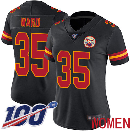 Women Kansas City Chiefs 35 Ward Charvarius Limited Black Rush Vapor Untouchable 100th Season Football Nike NFL Jersey