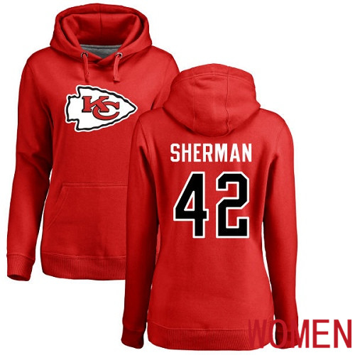 Women Kansas City Chiefs 42 Sherman Anthony Red Name and Number Logo Pullover NFL Hoodie Sweatshirts