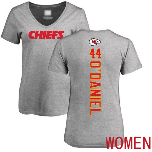 Women Kansas City Chiefs 44 ODaniel Dorian Ash Backer V Neck NFL T Shirt