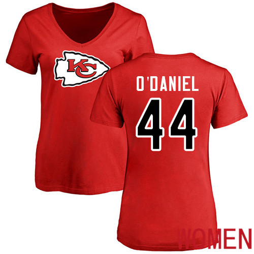 Wholesale Women Kansas City Chiefs 44 ODaniel Dorian Red Name and Number Logo Slim Fit NFL T Shirt