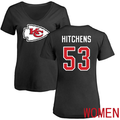Women Kansas City Chiefs 53 Hitchens Anthony Black Name and Number Logo Slim Fit NFL T Shirt