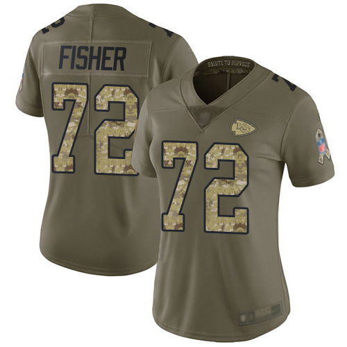 Women Kansas City Chiefs 72 Fisher Eric Limited Olive Camo 2017 Salute to Service Football Nike NFL Jersey
