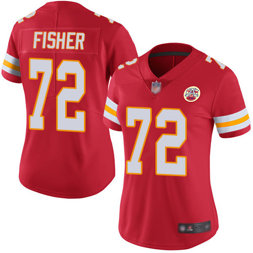 Women Kansas City Chiefs 72 Fisher Eric Red Team Color Vapor Untouchable Limited Player Football Nike NFL Jersey