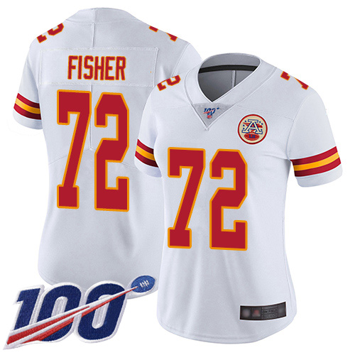 Women Kansas City Chiefs 72 Fisher Eric White Vapor Untouchable Limited Player 100th Season Football Nike NFL Jersey