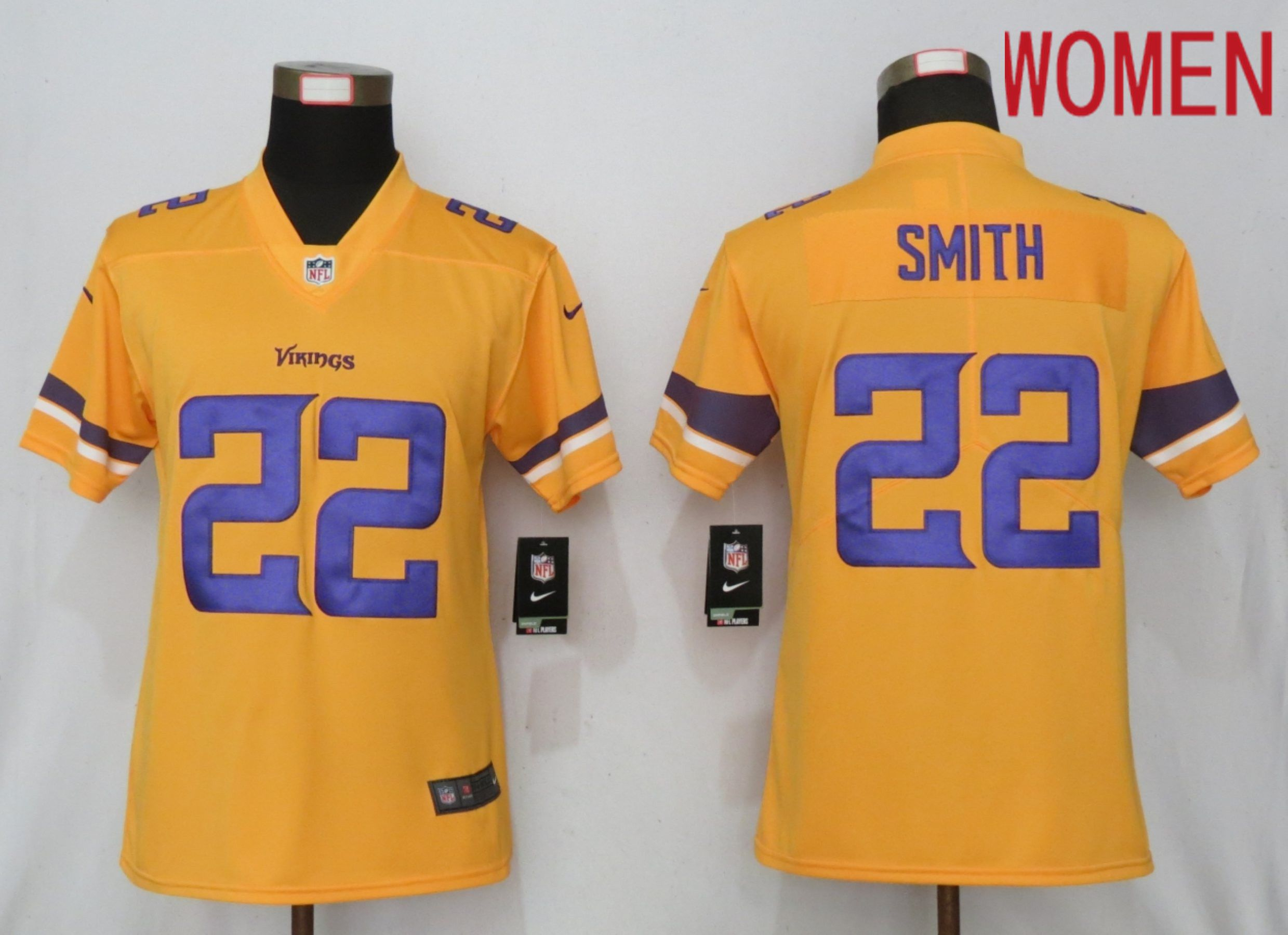 Women Minnesota Vikings 22 Smith 2019 Vapor Untouchable Nike Gold Inverted Elite Playe NFL Jerseys
