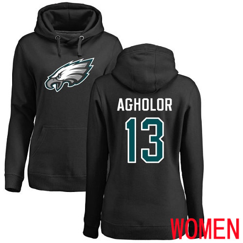 Women Philadelphia Eagles 13 Nelson Agholor Black Name and Number Logo NFL Pullover Hoodie Sweatshirts
