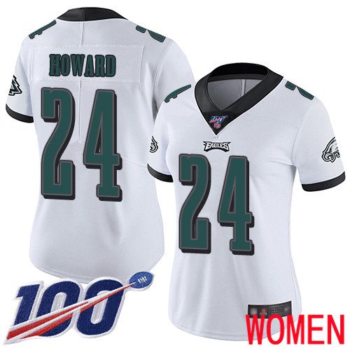Wholesale Women Philadelphia Eagles 24 Jordan Howard White Vapor Untouchable NFL Jersey Limited Player Season