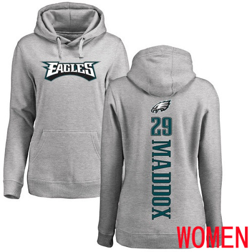 Wholesale Women Philadelphia Eagles 29 Avonte Maddox Ash Backer NFL Pullover Hoodie Sweatshirts