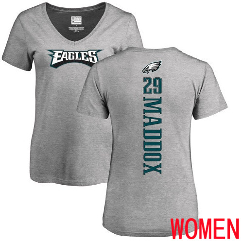 Wholesale Women Philadelphia Eagles 29 Avonte Maddox Ash Backer V-Neck NFL T Shirt
