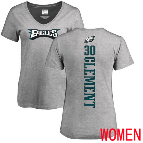 Women Philadelphia Eagles 30 Corey Clement Ash Backer V-Neck NFL T Shirt