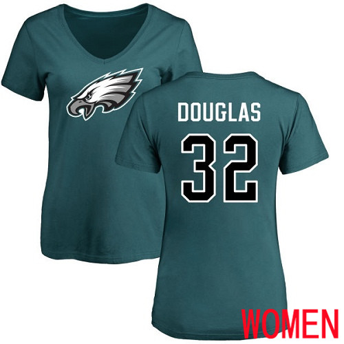 Women Philadelphia Eagles 32 Rasul Douglas Green Name and Number Logo Slim Fit NFL T Shirt
