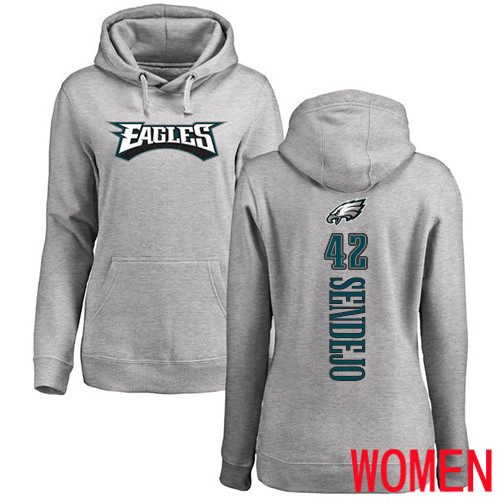 Women Philadelphia Eagles 42 Andrew Sendejo Ash Backer NFL Pullover Hoodie Sweatshirts