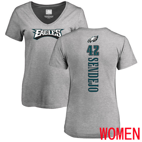 Women Philadelphia Eagles 42 Andrew Sendejo Ash Backer V-Neck NFL T Shirt