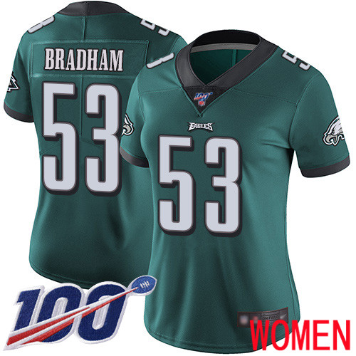 Women Philadelphia Eagles 53 Nigel Bradham Midnight Green Team Color Vapor Untouchable NFL Jersey Limited 100th