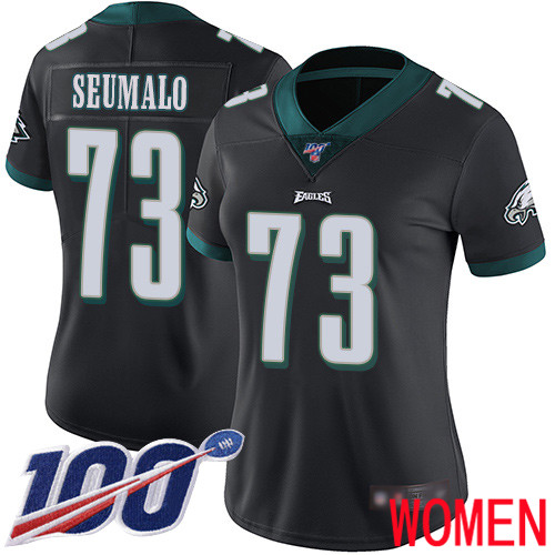 Women Philadelphia Eagles 73 Isaac Seumalo Black Alternate Vapor Untouchable NFL Jersey Limited Player 100th