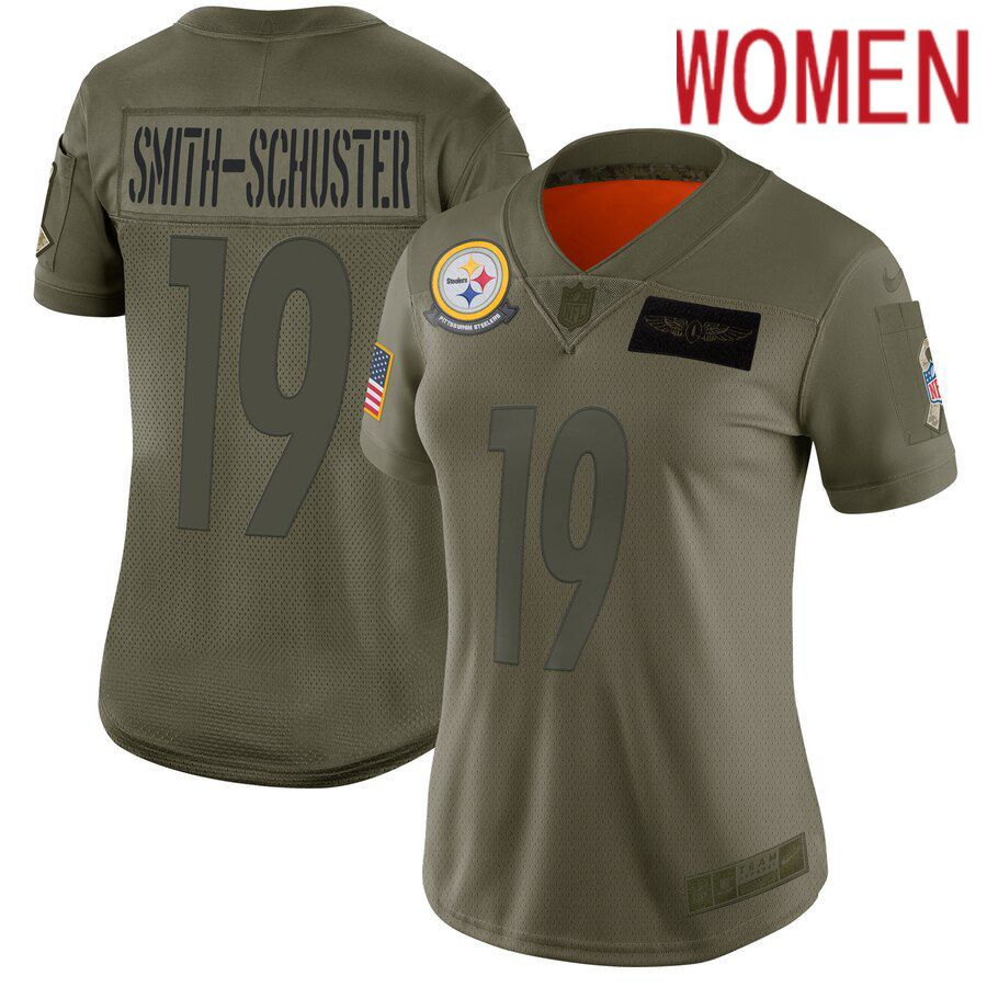 Women Pittsburgh Steelers 19 Smith-Schuster Green Nike Olive Salute To Service Limited NFL Jerseys