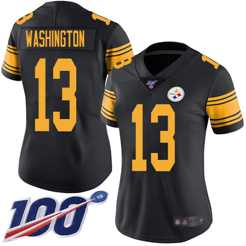 Women Pittsburgh Steelers Football 13 Limited Black James Washington 100th Season Rush Vapor Untouchable Nike NFL Jersey