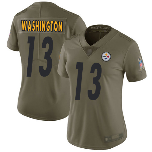 Women Pittsburgh Steelers Football 13 Limited Olive James Washington 2017 Salute to Service Nike NFL Jersey