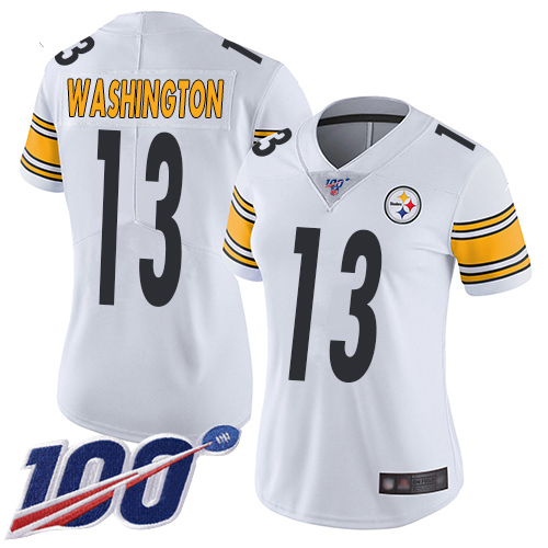 Women Pittsburgh Steelers Football 13 Limited White James Washington Road 100th Season Vapor Untouchable Nike NFL Jersey