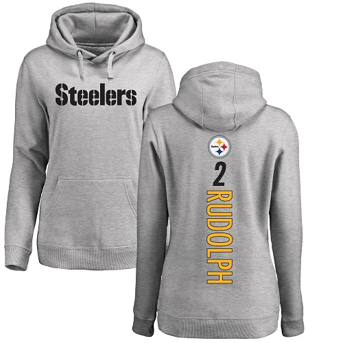 Women Pittsburgh Steelers Football 2 Ash Mason Rudolph Backer Pullover NFL Hoodie Sweatshirts