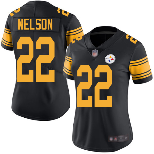 Women Pittsburgh Steelers Football 22 Limited Black Steven Nelson Rush Vapor Untouchable Nike NFL Jersey