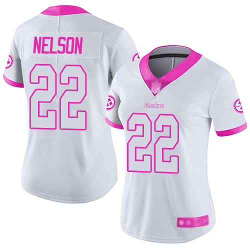 Women Pittsburgh Steelers Football 22 Limited White Pink Steven Nelson Rush Fashion Nike NFL Jersey