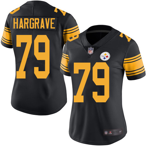Wholesale Women Pittsburgh Steelers Football 79 Limited Black Javon Hargrave Rush Vapor Untouchable Nike NFL Jersey