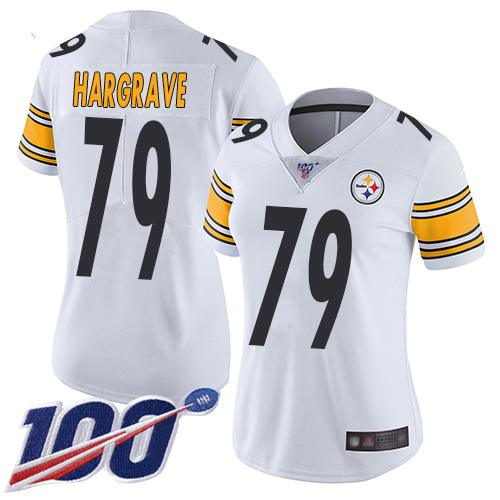 Wholesale Women Pittsburgh Steelers Football 79 Limited White Javon Hargrave Road 100th Season Vapor Untouchable Nike NFL Jersey