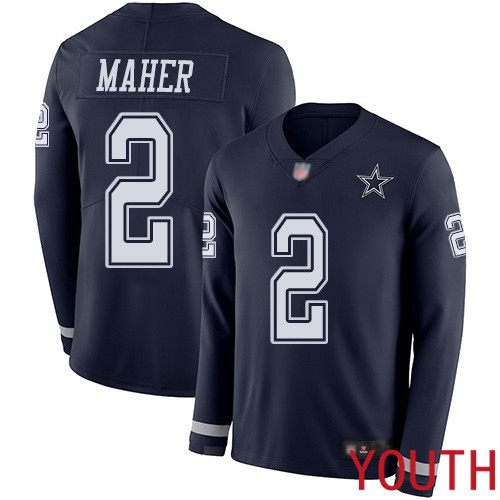 Youth Dallas Cowboys Limited Navy Blue Brett Maher 2 Therma Long Sleeve NFL Jersey
