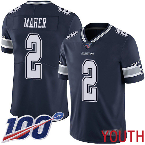 Youth Dallas Cowboys Limited Navy Blue Brett Maher Home 2 100th Season Vapor Untouchable NFL Jersey