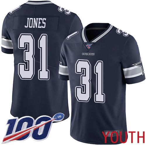 Youth Dallas Cowboys Limited Navy Blue Byron Jones Home 31 100th Season Vapor Untouchable NFL Jersey