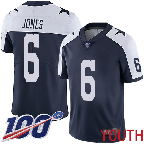 Youth Dallas Cowboys Limited Navy Blue Chris Jones Alternate 6 100th Season Vapor Untouchable Throwback NFL Jersey