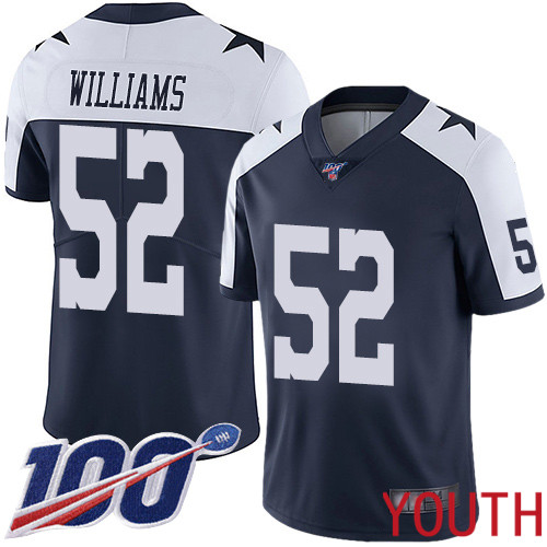 Youth Dallas Cowboys Limited Navy Blue Connor Williams Alternate 52 100th Season Vapor Untouchable Throwback NFL Jersey