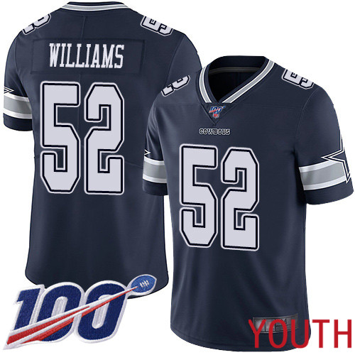 Youth Dallas Cowboys Limited Navy Blue Connor Williams Home 52 100th Season Vapor Untouchable NFL Jersey