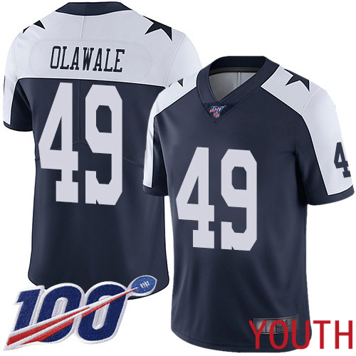 Youth Dallas Cowboys Limited Navy Blue Jamize Olawale Alternate 49 100th Season Vapor Untouchable Throwback NFL Jersey