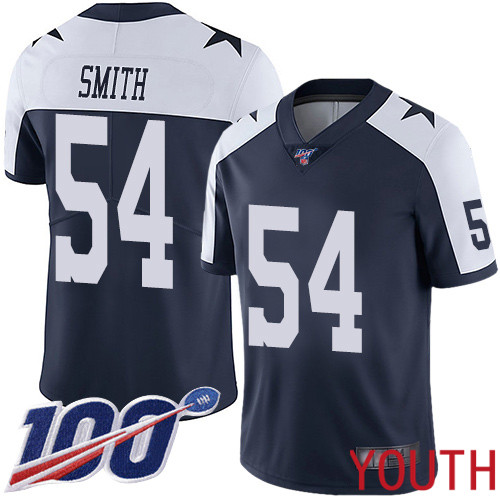 Youth Dallas Cowboys Limited Navy Blue Jaylon Smith Alternate 54 100th Season Vapor Untouchable Throwback NFL Jersey