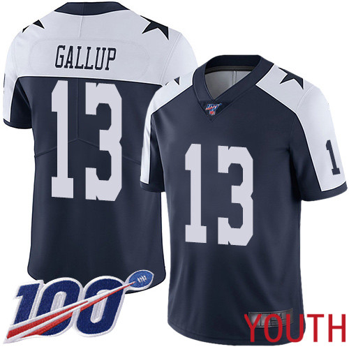Youth Dallas Cowboys Limited Navy Blue Michael Gallup Alternate 13 100th Season Vapor Untouchable Throwback NFL Jersey