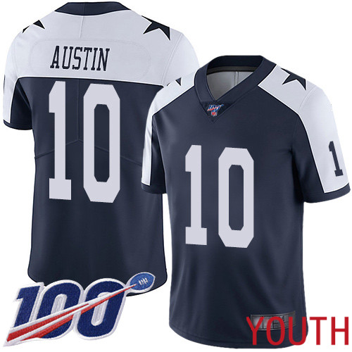 Youth Dallas Cowboys Limited Navy Blue Tavon Austin Alternate 10 100th Season Vapor Untouchable Throwback NFL Jersey