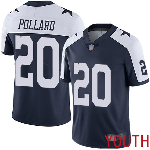 Youth Dallas Cowboys Limited Navy Blue Tony Pollard Alternate 20 Vapor Untouchable Throwback NFL Jersey