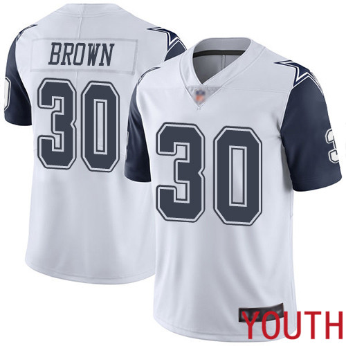 Youth Dallas Cowboys Limited White Anthony Brown 30 Rush Vapor Untouchable NFL Jersey