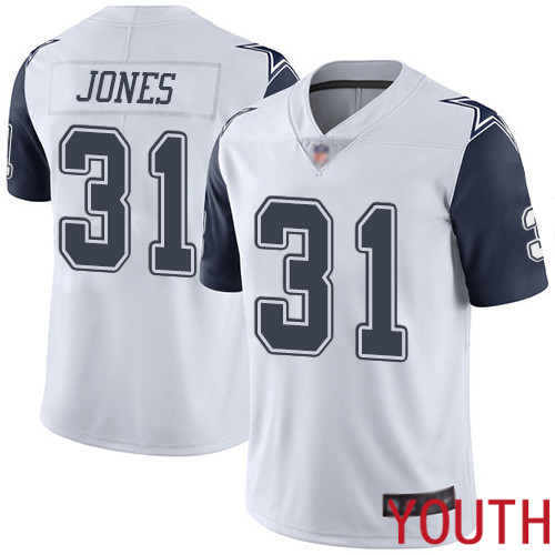 Youth Dallas Cowboys Limited White Byron Jones 31 Rush Vapor Untouchable NFL Jersey
