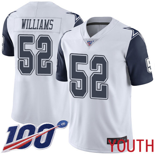 Youth Dallas Cowboys Limited White Connor Williams 52 100th Season Rush Vapor Untouchable NFL Jersey