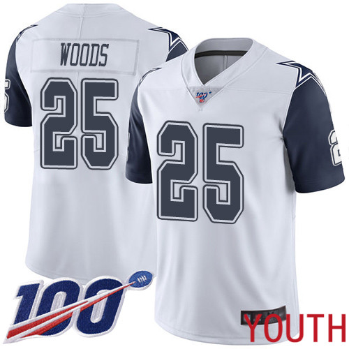 Youth Dallas Cowboys Limited White Xavier Woods 25 100th Season Rush Vapor Untouchable NFL Jersey