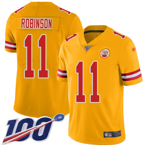 Youth Kansas City Chiefs 11 Robinson Demarcus Limited Gold Inverted Legend 100th Season Football Nike NFL Jersey